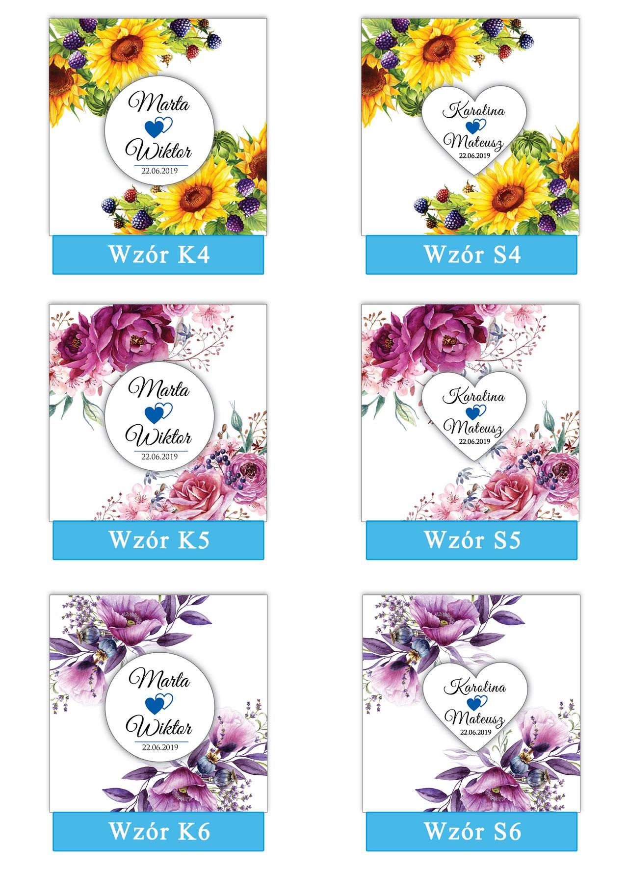 zaproszenia-ślubne-boho-rustykalne-kwiatowe-Nikola-ze-wstążką-kwiaty boho-plansza-wzory 4-6