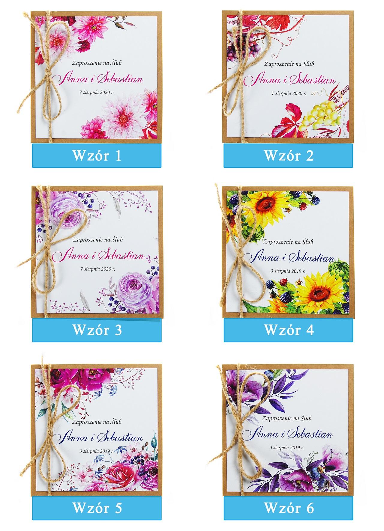 zaproszenia-ślubne-boho-rustykalne-kwiatowe-Nikola3-ze-sznurkiem-eko-klejone-front-na-białym-papierze-plansza-wzory1-6