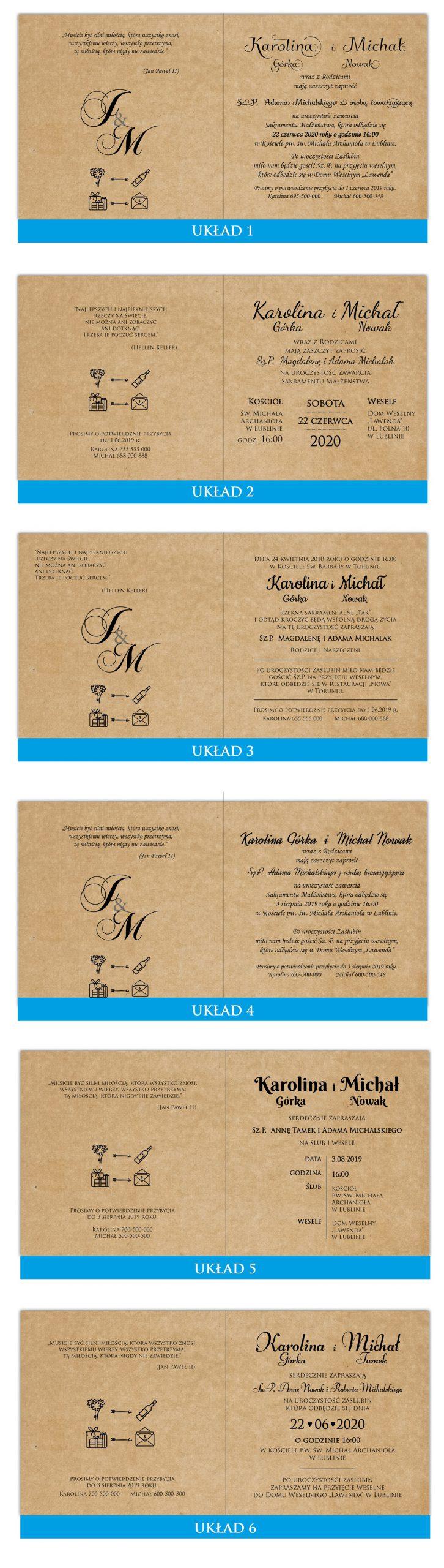 zaproszenia-ślubne-boho-rustykalne-kwiatowe-Nikola3-ze-sznurkiem-eko-klejone-front-na-białym-papierze-układy-tekstu