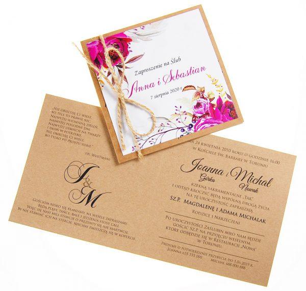 zaproszenia-ślubne-boho-rustykalne-kwiatowe-Nikola3-ze-sznurkiem-eko-klejone-front-na-białym-papierze-wnętrze1