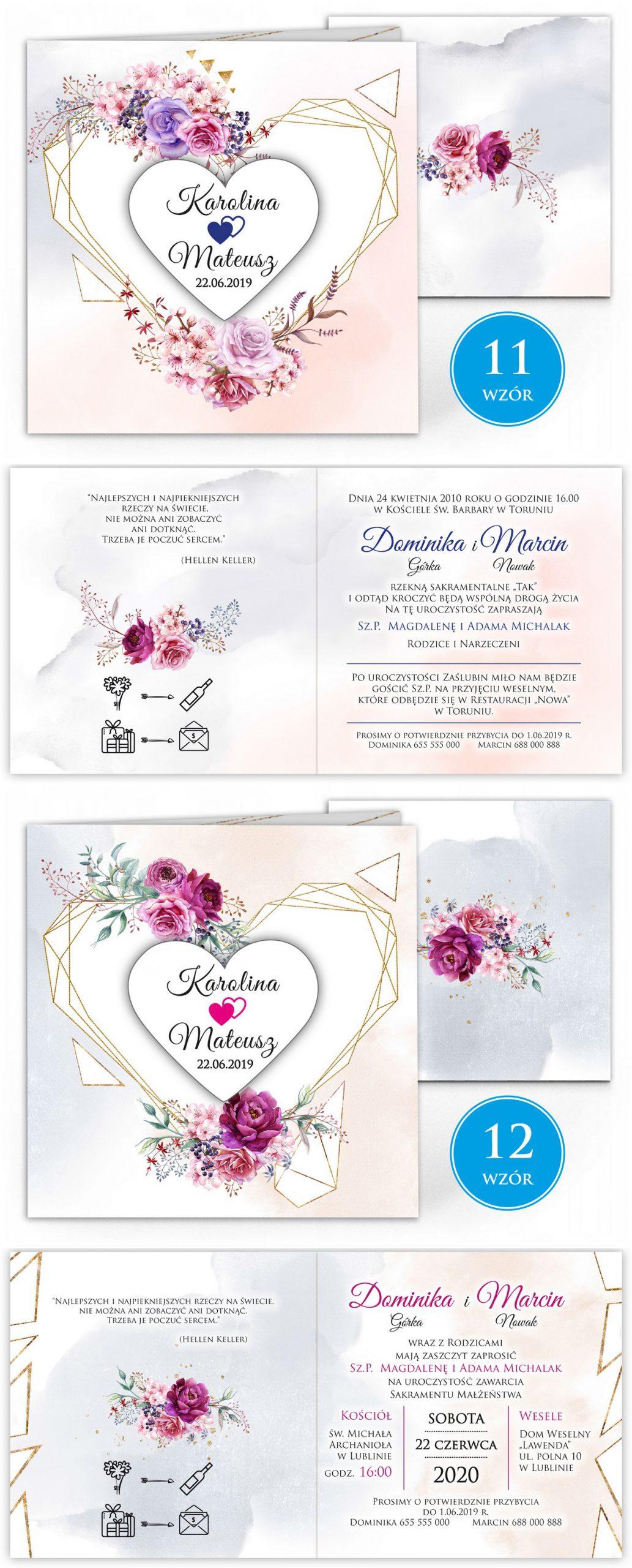 zaproszenia-ślubne-boho-rustykalne-kwiatowe--ramki-serca-geometryczne-ze-wstążką-Wenus2-plansza-wzory11-12