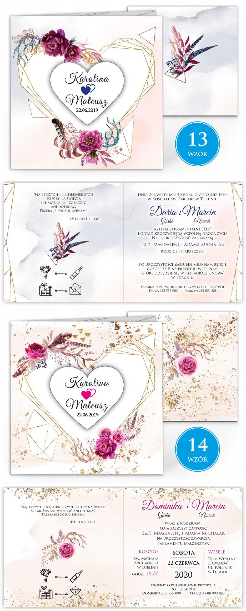 zaproszenia-ślubne-boho-rustykalne-kwiatowe--ramki-serca-geometryczne-ze-wstążką-Wenus2-plansza-wzory13-14