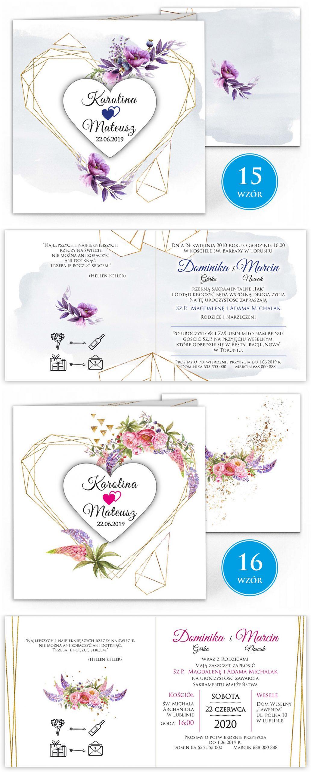 zaproszenia-ślubne-boho-rustykalne-kwiatowe--ramki-serca-geometryczne-ze-wstążką-Wenus2-plansza-wzory15-16