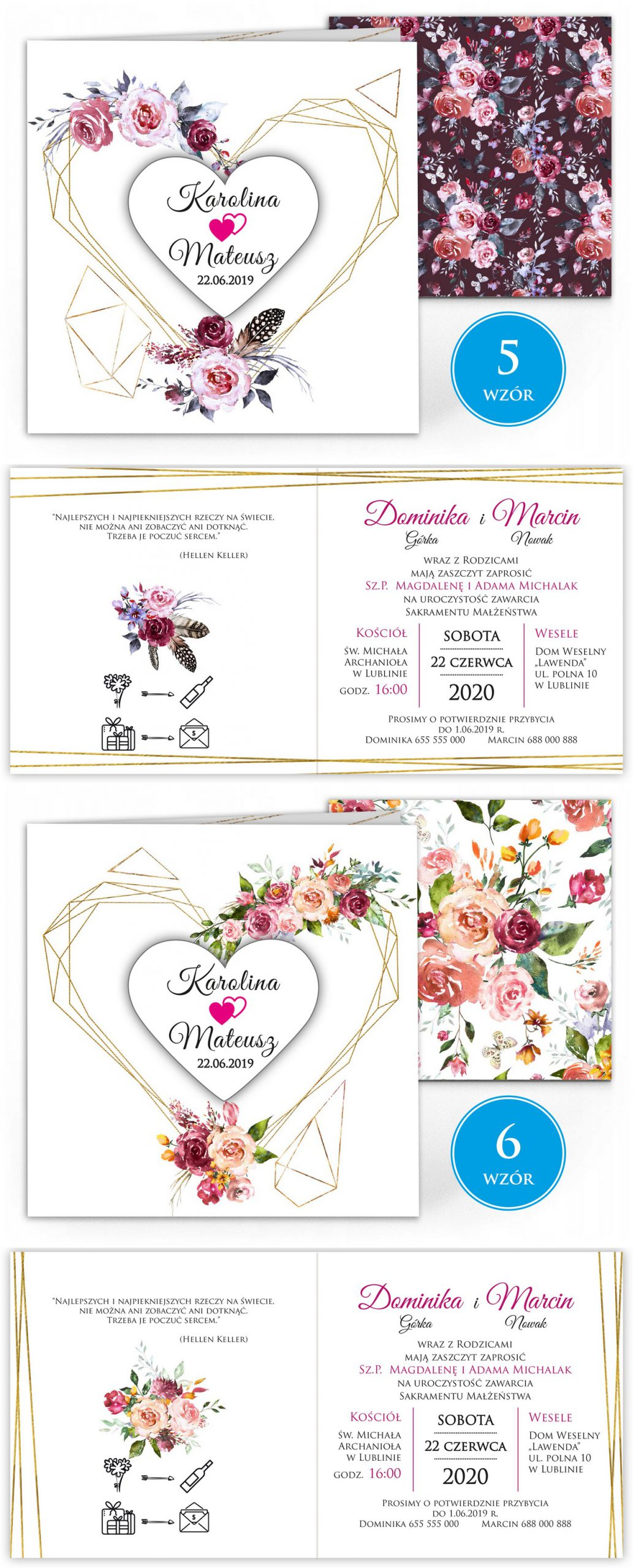 zaproszenia-ślubne-boho-rustykalne-kwiatowe--ramki-serca-geometryczne-ze-wstążką-Wenus2-plansza-wzory5-6