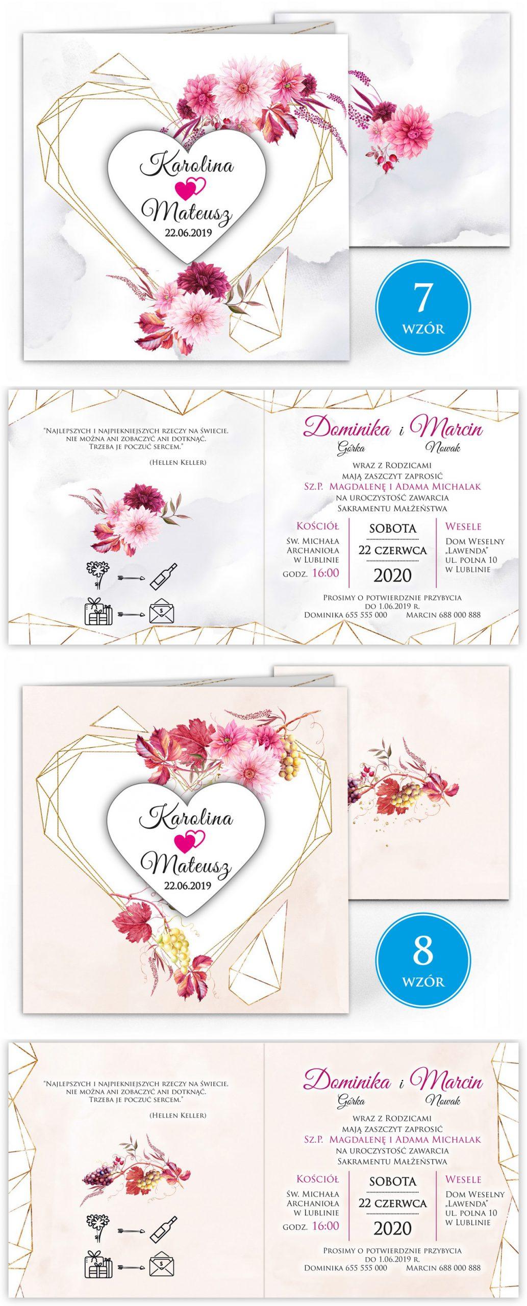 zaproszenia-ślubne-boho-rustykalne-kwiatowe--ramki-serca-geometryczne-ze-wstążką-Wenus2-plansza-wzory7-8