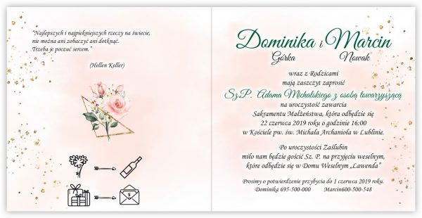 zaproszenia-ślubne-boho-rustykalne-kwiatowe--ramki-serca-geometryczne-ze-wstążką-Wenus2-wnętrze2