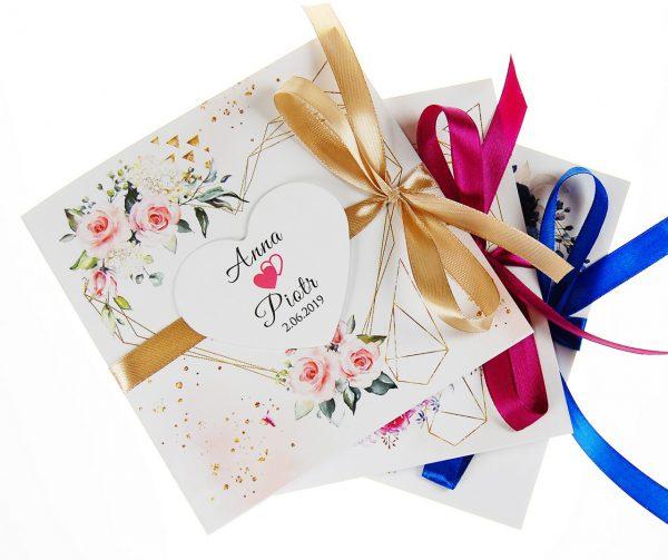 zaproszenia-ślubne-boho-rustykalne-kwiatowe--ramki-serca-geometryczne-ze-wstążką-Wenus2-zdj 1