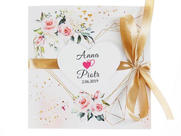zaproszenia-ślubne-boho-rustykalne-kwiatowe--ramki-serca-geometryczne-ze-wstążką-Wenus2-zdj 2