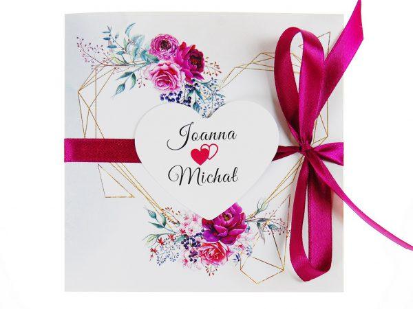 zaproszenia-ślubne-boho-rustykalne-kwiatowe--ramki-serca-geometryczne-ze-wstążką-Wenus2-zdj 3