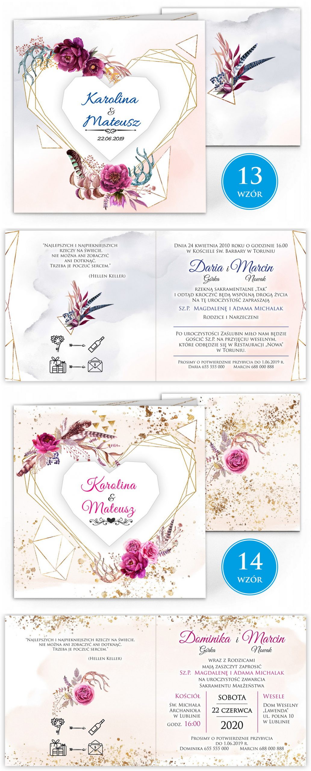 zaproszenia-ślubne-boho-rustykalne-kwiatowe--ramki-serca-geometryczne-ze-wstążką-Wenus3-plansza-wzory13-14