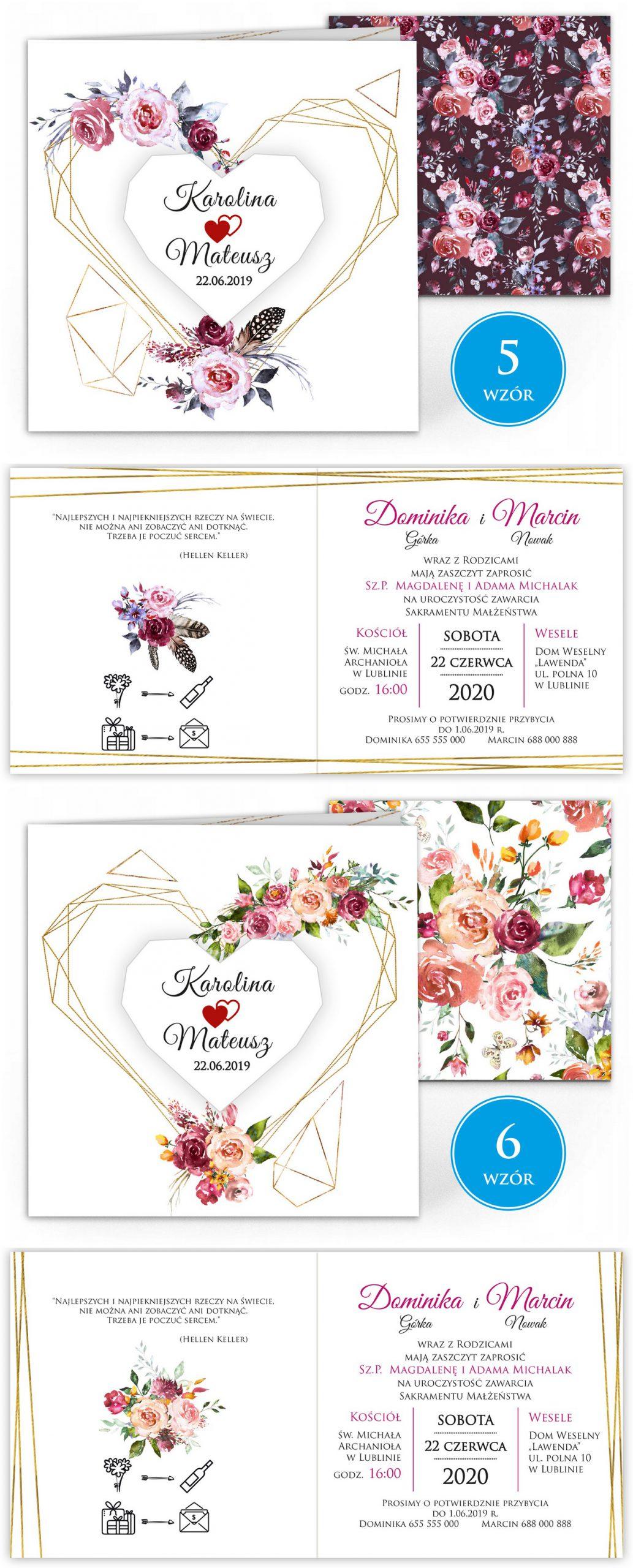 zaproszenia-ślubne-boho-rustykalne-kwiatowe--ramki-serca-geometryczne-ze-wstążką-Wenus3-plansza-wzory5-6