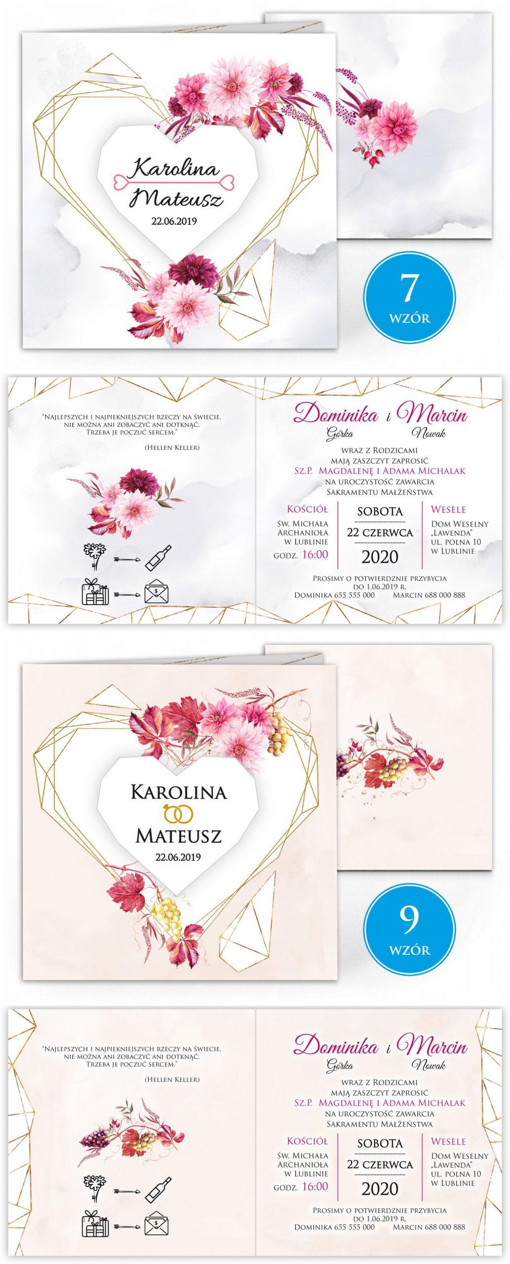 zaproszenia-ślubne-boho-rustykalne-kwiatowe--ramki-serca-geometryczne-ze-wstążką-Wenus3-plansza-wzory7-8