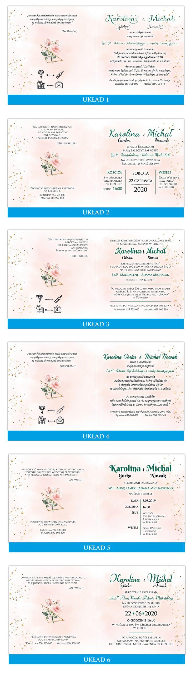 zaproszenia-ślubne-boho-rustykalne-kwiatowe--ramki-serca-geometryczne-ze-wstążką-Wenus3-układy-tekstu