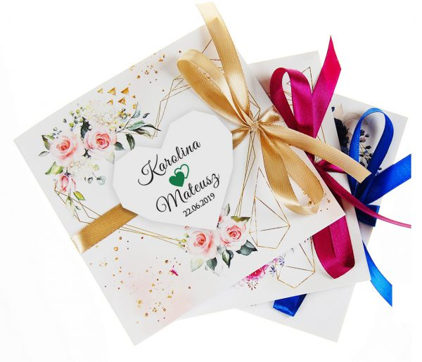 zaproszenia-ślubne-boho-rustykalne-kwiatowe--ramki-serca-geometryczne-ze-wstążką-Wenus3-zdjęcie 1