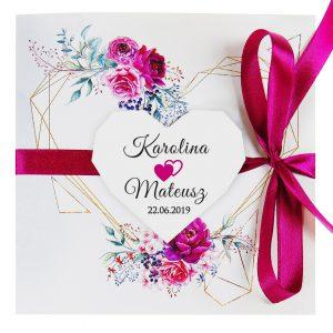 zaproszenia-ślubne-boho-rustykalne-kwiatowe--ramki-serca-geometryczne-ze-wstążką-Wenus3-zdjęcie 3