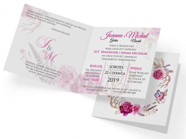 zaproszenia-ślubne-boho-rustykalne-wianki-kwiatowe-Silena-ze-wstążką-wnętrze